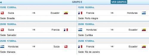 partidos y horarios grupo e mundial brasil 2014