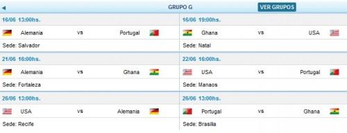 partidos y horarios grupo g mundial brasil 2014