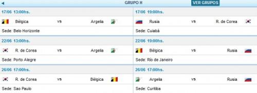 partidos y horarios grupo h mundial brasil 2014