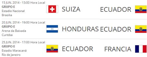 fechas ecuador mundia