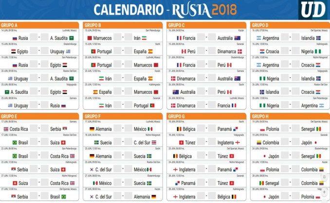 Calendarios Partidos Eliminatorias Rusia 2018
